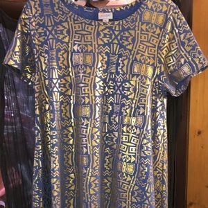 Swing dress w/ gold foil, sky blue, pocket detail!